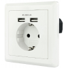 Base de enchufe de pared tipo schuko con 2 tomas USB Nanocable 2.4A 10.35.0010 Blanca