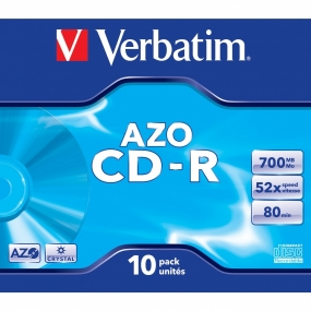 CD-R Verbatim Azo Crystal Jewel Case 10Uds