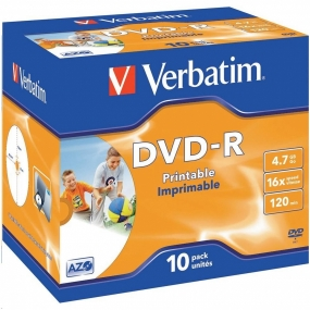 DVD-R Verbatim Printable Jewel Case 10 Uds